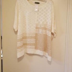 Ivory & Tan loose knit/sheer short sleeve top 1XL